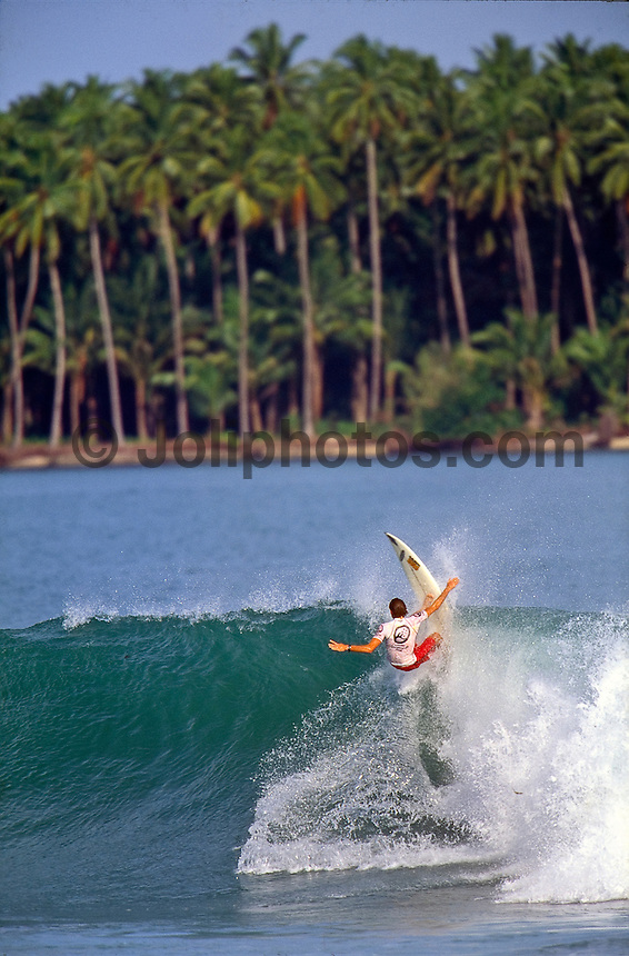 Lagundri Bay, Nias Island, Indonesia. Paul Ward (AUS). The Nias Indonesian Open was held at Lagundri Bay on the north west  coast of Nias. The event was won by Jye Gofton (AUS). circa 1995.Photo: joliphotos.com