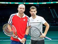 Februari 11, 2015, Netherlands, Rotterdam, Ahoy, ABN AMRO World Tennis Tournament, Gilles Muller (LUX) - Grigor Dimitrov (BUL)<br /> Photo: Tennisimages/Henk Koster