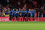 Club Brugge's players celebrate goal during UEFA Champions League match between Atletico de Madrid and Club Brugge at Wanda Metropolitano Stadium in Madrid, Spain. October 03, 2018. (ALTERPHOTOS/A. Perez Meca)