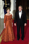 Washington, D.C. - November 2, 2005 -- United States President George W. Bush and first lady Laura Bush welcome Charles, the Prince of Wales and Camilla, the Duchess of Cornwall to the White House for a Social Dinner in their honor in Washington, D.C. on November 2, 2005..Credit: Ron Sachs / CNP.(Restriction: No New York Metro or other Newspapers within a 75 mile radius of New York City)