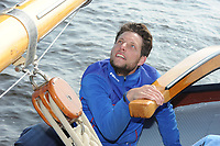 ZEILEN: TERHERNE: 02-04-2017, Skûtsje Gerben van Manen Heerenveen schipper Sytze Brouwer,©foto Martin de Jong