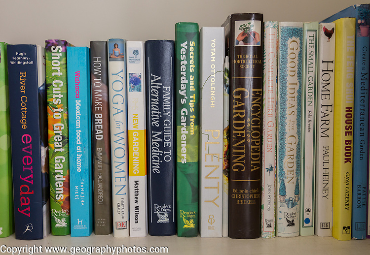 Close up of non-fiction home, gardening, and lifestyle books, UK