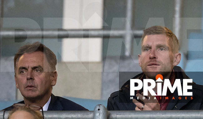 Arsenal Head of Coach and Player Development Marcel Lucassen and Academy Manager Per Mertesacker during the The Checkatrade Trophy group match between Coventry City and Arsenal U21 at the Ricoh Arena, Coventry, England on 12 September 2018. Photo by Andy Rowland.