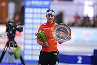 SCHAATSEN: ERFURT: Gunda Niemann Stirnemann Eishalle, 22-03-2015, ISU World Cup Final 2014/2015, Final Podium 1000m Ladies, Marrit Leenstra (NED), ©foto Martin de Jong