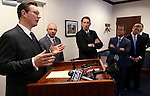 Nevada Senate Republicans, from left, Ben Kieckhefer, Joe Hardy, Scott Hammond, Mark Hutchison, Greg Brower and Michael Roberson, unveiled a mining tax reform proposal during a news conference at the Legislative Building in Carson City, Nev., on Tuesday, March 5, 2013. (AP Photo/Cathleen Allison)