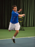 Rotterdam, The Netherlands, 15.03.2014. NOJK 14 and 18 years ,National Indoor Juniors Championships of 2014, Alexander Popping (NED)<br /> Photo:Tennisimages/Henk Koster