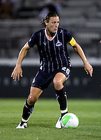 Abby Wambach (20) of the Washington Freedom carries the ball into the box during the game at the Maryland SoccerPlex in Boyds, Maryland.  The Washington Freedom defeated the Philadelphia Independence, 2-0.
