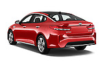 Car pictures of rear three quarter view of 2018 KIA Optima EX-Hybrid 4 Door Sedan Angular Rear