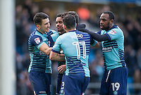 Celebrates as Wycombe equalise through Joe Jacobson of Wycombe Wanderers penalty during the Sky Bet League 2 match between Wycombe Wanderers and Yeovil Town at Adams Park, High Wycombe, England on 14 January 2017. Photo by Andy Rowland / PRiME Media Images.