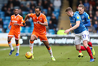 Blackpool's Nathan Delfouneso competing with Portsmouth's Dion Donohue<br /> <br /> Photographer Andrew Kearns/CameraSport<br /> <br /> The EFL Sky Bet League One - Portsmouth v Blackpool - Saturday 12th January 2019 - Fratton Park - Portsmouth<br /> <br /> World Copyright &copy; 2019 CameraSport. All rights reserved. 43 Linden Ave. Countesthorpe. Leicester. England. LE8 5PG - Tel: +44 (0) 116 277 4147 - admin@camerasport.com - www.camerasport.com