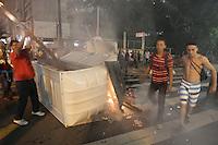 SAO PAULO, SP, 29/04/2014, MANIFESTACAO MST. Integrantes do MST durante manifestacao em frente a Camara Minicipal de Sao Paulo nessa terca-feira (29). LUIZ GUARNIERI/BRAZIL PHOTO PRESS.