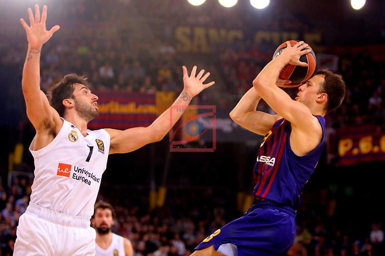 Turkish Airlines Euroleague 2018/2019. <br /> Regular Season-Round 24.<br /> FC Barcelona Lassa vs R. Madrid: 77-70. <br /> Facundo Campazzo vs Kevin Pangos.