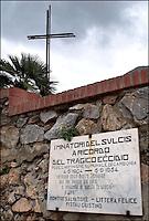 Italia, Sardegna, Sulcis.<br /> Buggerru (Cagliari).<br /> Lapide in ricordo dei minatori morti durante gli scioperi del 1904.
