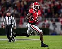 ATHENS, GA - NOVEMBER 09: George Pickens #1 of the Georgia Bulldogs runs after catching a pass during a game between Missouri Tigers and Georgia Bulldogs at Sanford Stadium on November 09, 2019 in Athens, Georgia.