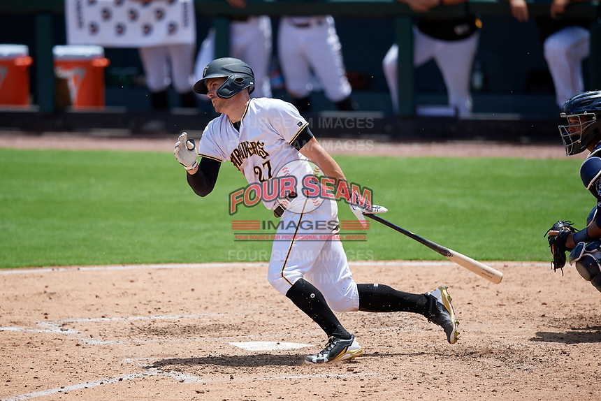 Bradenton Marauders Lucas Tancas (27) at bat during a Florida State League game against the Charlotte Stone Crabs on April 10, 2019 at LECOM Park in Bradenton, Florida.  Bradenton defeated Charlotte 2-1.  (Mike Janes/Four Seam Images)