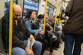Crowded rush hour tube train carriage on the London underground