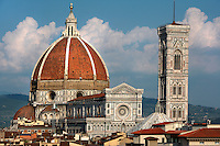 Cathedral Santa Maria del Fiore, Florence, Italy , also known as the Duomo, begun in 1296 by Arnolfo di CAMBIO, dome by Filippo BRUNELLESCHI, 1377-1446, completed in 1436, Bell Tower designed by GIOTTO, 1267-1337 pictured on June 9 2007.