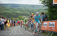 after he crashed really hard a few days before in the Flèche Wallonne, Lieuwe Westra (NLD/Astana) rode up La Redoute (max 22%) in the main bunch<br /> <br /> Liège-Bastogne-Liège 2014