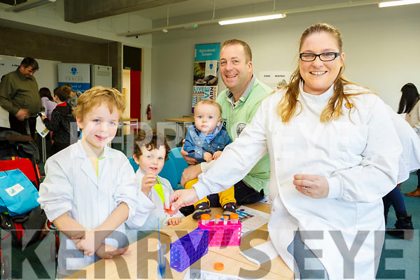 At the IT Tralee Kerry Science Festival on Saturday were Dara, Stephan, Killian and Donal O'Reilly with Elaine Hylton Moore, student in Veterinary Bioscience