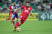 November 4th 2017, nib Stadium, Perth, Australia; A-League football, Perth Glory versus Adelaide United; Isaias captain of Adelaide United runs with the ball during the second half