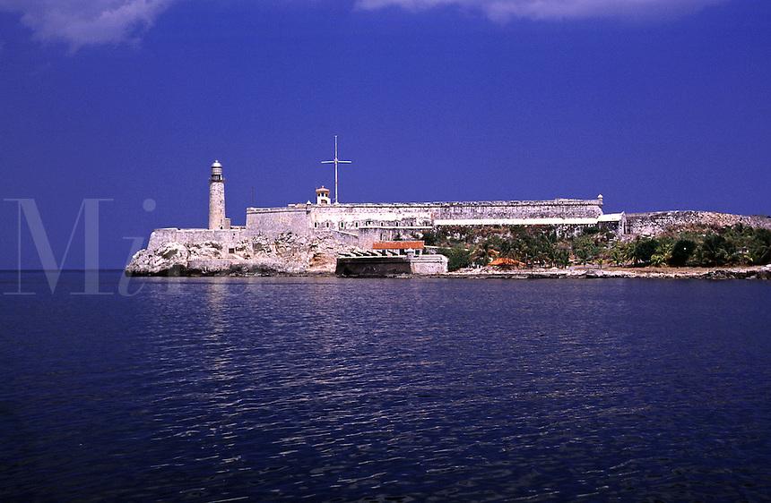 Castillo de los Tres Reyes del Morro is located on Punta Barlovento, guarding the entrance to Havana harbor. Havana, Cuba.