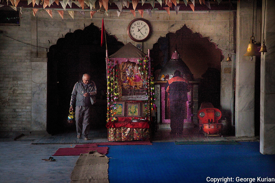 The inside of the Hanuman temple in the old city of Srinagar.