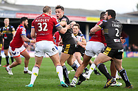 Picture by Alex Whitehead/SWpix.com - 12/03/2017 - Rugby League - Betfred Super League - Wakefield Trinity v Salford Red Devils - Beaumont Legal Stadium, Wakefield, England - Salford's Gareth O'Brien and Wakefield's Dean Hadley clash.