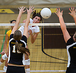 Mountain View High at St. Francis girls volleyball, September 6, 2011.  St. Francis wins in 3 games...St. Francis _ Chloe Lott.MV - Brittany Howard, Sam Sinclair