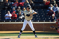 Nick DiPonzio (7) of the Wake Forest Demon Deacons at bat against the Gardner-Webb Runnin' Bulldogs at David F. Couch Ballpark on February 18, 2018 in  Winston-Salem, North Carolina. The Demon Deacons defeated the Runnin' Bulldogs 8-4 in game one of a double-header.  (Brian Westerholt/Four Seam Images)