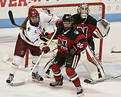 Caitrin Lonergan (BC - 11), Heather Mottau (NU - 26), Brittany Bugalski (NU - 39) - The Boston College Eagles defeated the Northeastern University Huskies 2-1 to win the Beanpot on Monday, February 7, 2017, at Matthews Arena in Boston, Massachusetts.