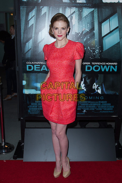 Ashley Bell.The premiere of FilmDistricts's 'Dead Man Down' at ArcLight Hollywood, Hollywood, California, USA..February 26th, 2013.full length dress  red shoes hands in pockets beige shoes pink.CAP/ADM/JS.©John Salangsang/AdMedia/Capital Pictures.
