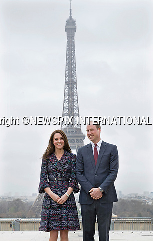 No UK Use For 28 Days - Until 14th April 2017<br />18.03.2017; Paris, FRANCE: DUKE &amp; DUCHESS OF CAMBRIDGE <br />pose in front of the Eiffel Tower at the Trocadero in Paris, France, at a &ldquo;Les Voisins in Action&rdquo; event highlighting the ties between the young people of France and the UK.<br />Mandatory Photo Credit: &copy;Francis Dias/NEWSPIX INTERNATIONAL<br /><br />IMMEDIATE CONFIRMATION OF USAGE REQUIRED:<br />Newspix International, 31 Chinnery Hill, Bishop's Stortford, ENGLAND CM23 3PS<br />Tel:+441279 324672  ; Fax: +441279656877<br />Mobile:  07775681153<br />e-mail: info@newspixinternational.co.uk<br />Usage Implies Acceptance of OUr Terms &amp; Conditions<br />Please refer to usage terms. All Fees Payable To Newspix International