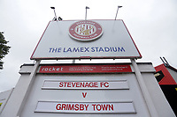 Sign advertising the match during Stevenage vs Grimsby Town, Sky Bet EFL League 2 Football at the Lamex Stadium on 12th October 2019