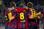 FC Barcelona's palyers celebrate goal during La Copa match.February 12,2014. (ALTERPHOTOS/Mikel)