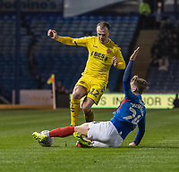 Fleetwood Town's Glenn Whelan (left) is tackled by Portsmouth's Cameron McGeehan (right) <br /> <br /> Photographer David Horton/CameraSport<br /> <br /> The EFL Sky Bet League One - Portsmouth v Fleetwood Town - Tuesday 10th March 2020 - Fratton Park - Portsmouth<br /> <br /> World Copyright © 2020 CameraSport. All rights reserved. 43 Linden Ave. Countesthorpe. Leicester. England. LE8 5PG - Tel: +44 (0) 116 277 4147 - admin@camerasport.com - www.camerasport.com