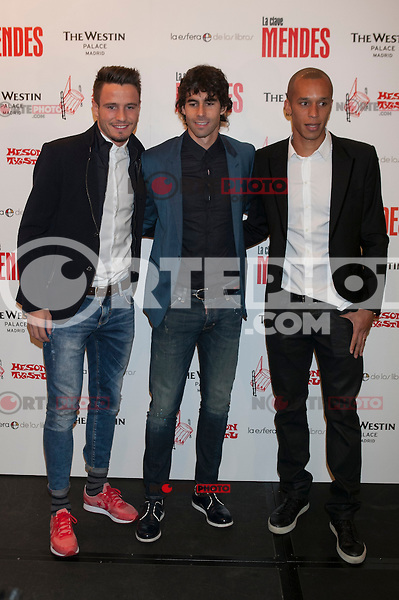Atletico de Madrid´s Joao Miranda, Thiago and Saul attend Jorge Mendes´s book presentation in Madrid, Spain. January 22, 2015. (ALTERPHOTOS/Victor Blanco) /NortePhoto<br /> NortePhoto.com