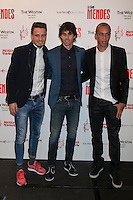 Atletico de Madrid´s Joao Miranda, Thiago and Saul attend Jorge Mendes´s book presentation in Madrid, Spain. January 22, 2015. (ALTERPHOTOS/Victor Blanco) /NortePhoto<br />