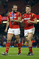(L-R) Jamie Roberts of Wales with team mate Jonathan Davies thank home supporters after the RBS 6 Nations Championship rugby game between Wales and Scotland at the Principality Stadium, Cardiff, Wales, UK Saturday 13 February 2016