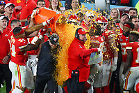 2nd February 2020, Miami Gardens, Florida, USA;   Kansas City Chiefs Head Coach Andy Reid gets gatorade poured on him after winning Super Bowl LIV on February 2, 2020 at Hard Rock Stadium in Miami Gardens