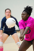 NWA Democrat-Gazette/CHARLIE KAIJO Bentonville West High School Sabine Lancaster (23) digs during the girl's volleyball game on Thursday, October 12, 2017 at Bentonville West High School in Centerton.