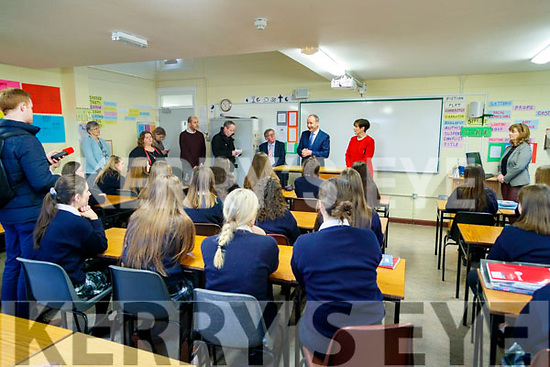 Michael Martin with General Election candidate Norma Foley while visiting Presentation Secondary school in Tralee on Monday.
