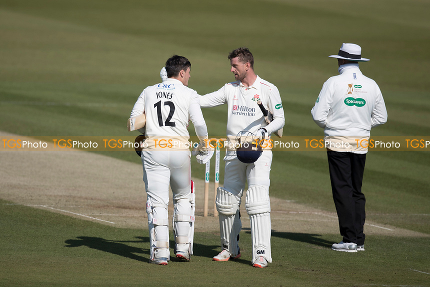 Dane Vilas congratulates Rob Jones of Lancashire CCC on his century during Middlesex CCC vs Lancashire CCC, Specsavers County Championship Division 2 Cricket at Lord's Cricket Ground on 13th April 2019