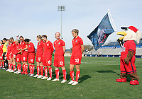 Glory, mascot of the Washington Freedom and the team during a WPS pre season match against the Philadelphia Independence at the Maryland Soccerplex on March 27 2010 in Boyds, Maryland. The game ended in a 0-0 tie.