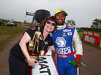 Apr 27, 2014; Baytown, TX, USA; NHRA top fuel dragster driver Antron Brown celebrates after winning the Spring Nationals at Royal Purple Raceway. Mandatory Credit: Mark J. Rebilas-