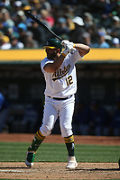 OAKLAND, CA - APRIL 20:  Kendrys Morales #12 of the Oakland Athletics bats against the Toronto Blue Jays during the game at the Oakland Coliseum on Saturday, April 20, 2019 in Oakland, California. (Photo by Brad Mangin)