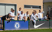 Petr Cech (left) & Ashley Cole (right) watch the match during the UEFA Youth League match between Chelsea U19 and Valencia Juvenil A at the Chelsea Training Ground, Cobham, England on 17 September 2019. Photo by Andy Rowland.