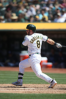 OAKLAND, CA - JUNE 22:  Robbie Grossman #8 of the Oakland Athletics bats against the Tampa Bay Rays during the game at the Oakland Coliseum on Saturday, June 22, 2019 in Oakland, California. (Photo by Brad Mangin)