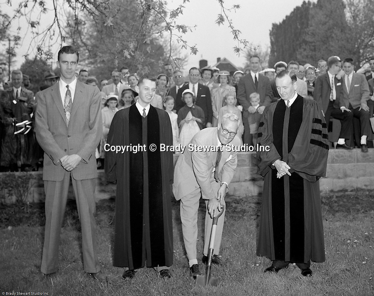 Mt Lebanon PA:  View of the ground breaking ceremony for a new addition to the Sunset Hills United Presbyterian Church on Country Club Drive - 1958.