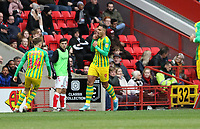 first goal scored for West Bromwich Albion by Kenneth Zohore of West Bromwich Albion as he celebrates during Charlton Athletic vs West Bromwich Albion, Sky Bet EFL Championship Football at The Valley on 11th January 2020