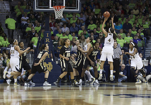 December 29, 2012:  A general view as Notre Dame guard Skylar Diggins (4) goes up for a shot during NCAA Women's Basketball game action between the Notre Dame Fighting Irish and the Purdue Boilermakers at Purcell Pavilion at the Joyce Center in South Bend, Indiana.  Notre Dame defeated Purdue 74-47.